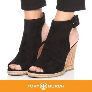 TORY BURCH Rays Black Suede Wedge Sandals Sz 9.5M